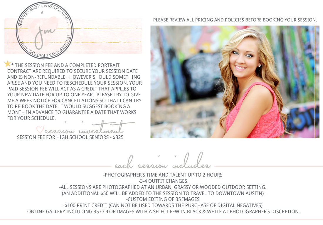 Jennifer Mayne Photography - Georgetown, TX - High School Senior session information