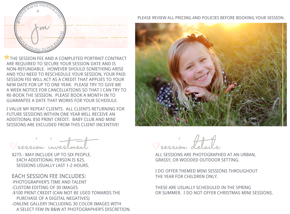 Jennifer Mayne Photography - Georgetown, TX - Child & family session information